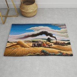 American Classical Masterpiece Threshing Wheat by Thomas Hart Benton Rug