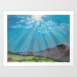 Sun ray - pastel grunge background Art Print