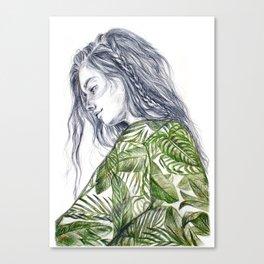Tropical Palm Print Portrait Canvas Print
