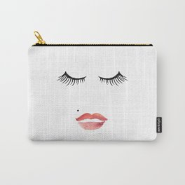 makeup print,bathroom decor,wall art,fashion print,lips print,eyelashes decor,girly,girls room art Carry-All Pouch