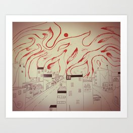 Burning city Art Print