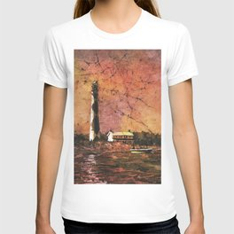 Cape Lookout lighthouse w/ faux photo border- Outer Banks, North Carolina T-shirt