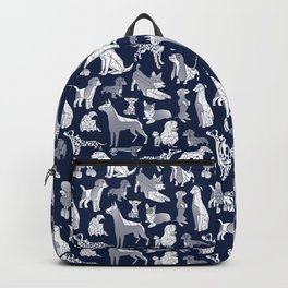Geometric sweet wet noses // navy blue background white dogs Backpack