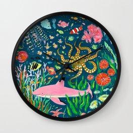 Pink Shark Wall Clock