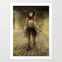 mikasa Art Prints featuring Mikasa by Tracey T