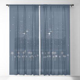 Dandelion Starry Night Sky Sheer Curtain