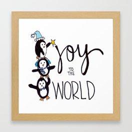 Joy to the World Penguins Framed Art Print