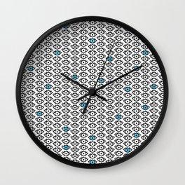 Black, White & Blue Spooky Eyes Wall Clock
