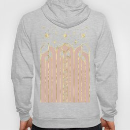 Art Deco Geometric Architectural Shapes and Stars in Blush Pink and Yellow Gold Hoody