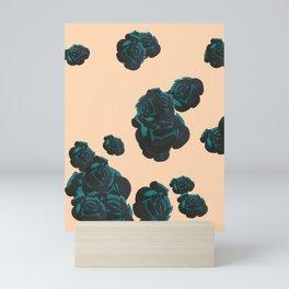 Green and Black Roses on Peach, Greenery Mini Art Print
