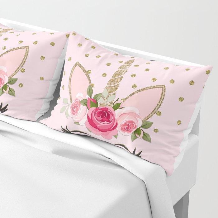 Pink & Gold Cute Floral Unicorn Pillow Sham