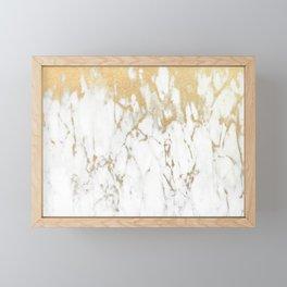 White Gold Marble Framed Mini Art Print