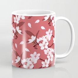 Sakura on red background Coffee Mug