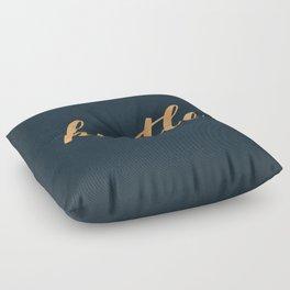 Hustle Text Copper Bronze Gold and Navy Floor Pillow