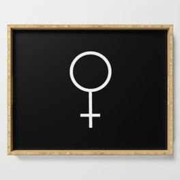 woman's symbol 2 – Black and white Serving Tray