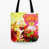 arnold Tote Bags featuring Arnold celebrates Christmas by shiva camille