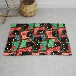 Christmas Black Cats Rug