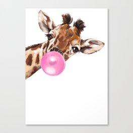 Bubble Gum Sneaky Giraffee Canvas Print
