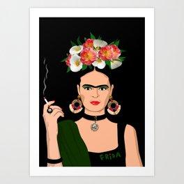 Fumar Frida Art Print