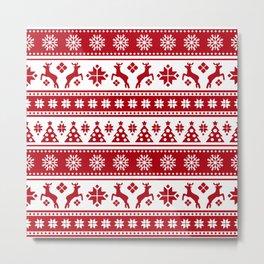 Christmas Holiday Nordic Pattern Cozy Metal Print