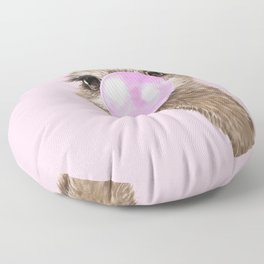 Sneaky Ostrich with Bubble Gum in Pink Floor Pillow