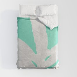 Green Fern on Ice Mint Green Inverted Silver Comforters