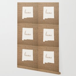 New Mexico is Home - White on Burlap Wallpaper