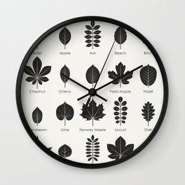 European Tree Leaves Wall Clock