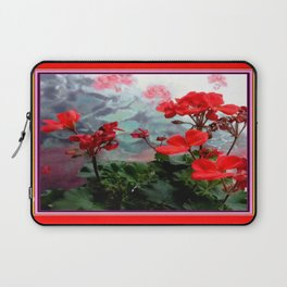 Red Geraniums Floral Red Abstract Laptop Sleeve
