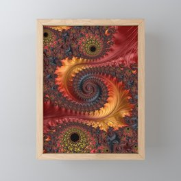 Feathery Flow - Red Fractal Art Framed Mini Art Print
