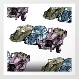 Animals in cars Art Print