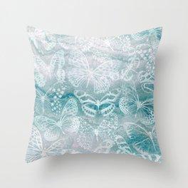 Sea green marble butterflies Throw Pillow