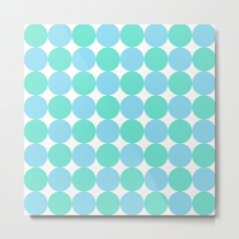 Turquoise and Pastel Blue Dot Pattern Metal Print