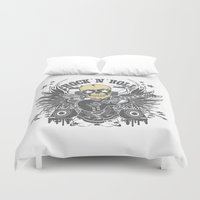 rock n roll Duvet Covers featuring Rock N Roll by Parrish