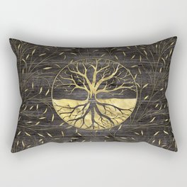 Golden Tree of life on wooden texture Rectangular Pillow