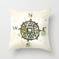 compass Throw Pillows featuring compass by JesseRayus