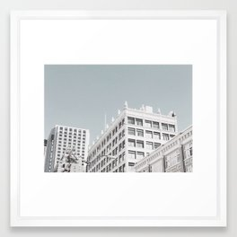 Seattle washed cityscape Framed Art Print