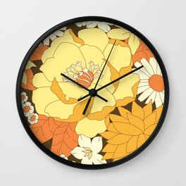 Yellow, Orange and Brown Vintage Floral Pattern Wall Clock