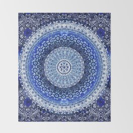 Cobalt Tapestry Mandala Throw Blanket