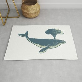 Humpback Whale Blowing Water Scratchboard Rug