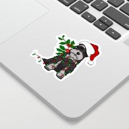 Black and White Christmas Schnauzer Sticker