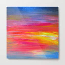 BRIGHT HORIZONS Bold Colorful Rainbow Pink Yellow Blue Abstract Painting Sunrise Sunset Stripes  Metal Print