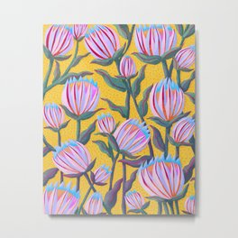Bold Protea Flower Pattern - Pink Blue Green Purple Yellow Metal Print