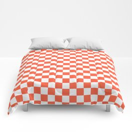 Jumbo Living Coral Color of the Year Orange and White Checkerboard Comforters