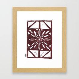 Linocut Flower Maroon Framed Art Print