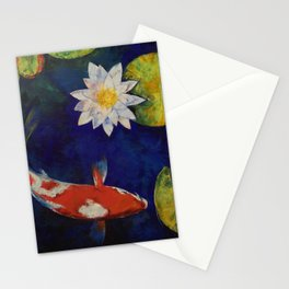 Kohaku Koi and Water Lily Stationery Cards