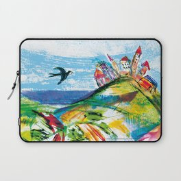 Swallow in the fairytale, painted pattern for kids, colourfull illustration Laptop Sleeve