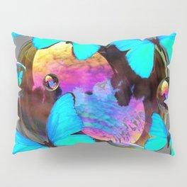 SURREAL NEON BLUE BUTTERFLIES  & SOAP BUBBLES GREY Pillow Sham