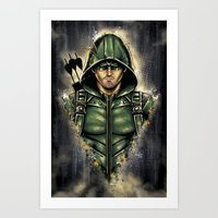 Green Hooded Hero Art Print