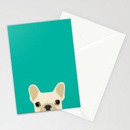 French Bulldog Peek - Cream on Teal Stationery Cards